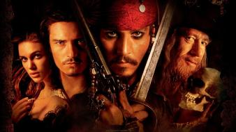 Captain jack sparrow hector barbossa elizabeth swann Wallpaper