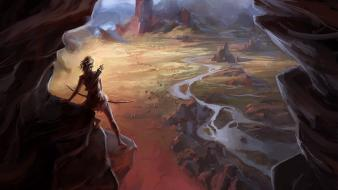 Fantasy art archery rivers adventure wallpaper