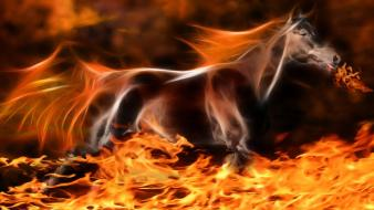 Fire fractalius horses Wallpaper