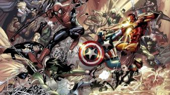 Iron man spider-man captain america marvel comics wallpaper