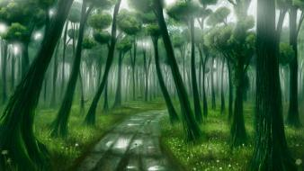 Landscapes forest path deer fantasy art artwork pathway Wallpaper