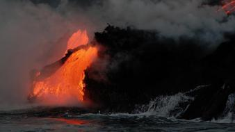 Landscapes lava smoke sea wallpaper