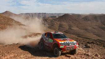 Landscapes trucks dust rally offroad gravel mitsubishi l200 wallpaper