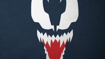 Minimalistic venom marvel comics blue background villians blo0p wallpaper