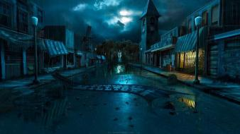 Night zombies houses terror town drama andreas rocha wallpaper