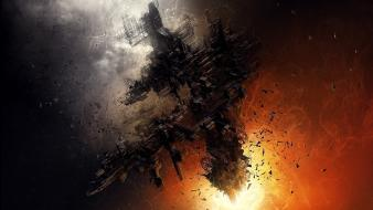 Outer space explosions illustrations spaceships science fiction artwork Wallpaper
