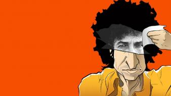 Paper bob dylan caricature musicians orange background wallpaper
