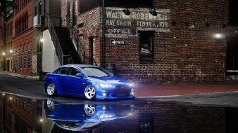 Reflections mitsubishi lancer evolution x tuned puddles wallpaper
