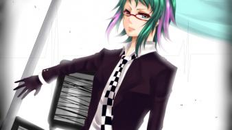Shirts meganekko megpoid gumi bicolored checkered clothing Wallpaper