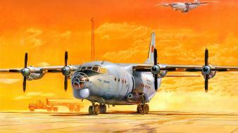 Sunset aircraft desert artwork antonov an-12 wallpaper