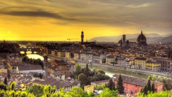 Sunset landscapes horizon cityscapes italy florence rivers wallpaper