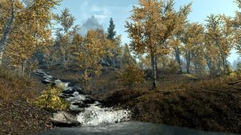 Trees rivers the elder scrolls v: skyrim wallpaper