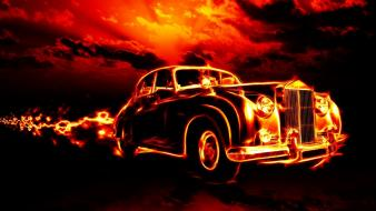 Vintage cars fire rolls-royce silver cloud wallpaper