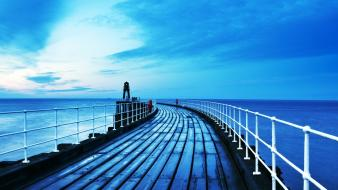 Water ocean dock wall skyscapes boardwalk sea wallpaper