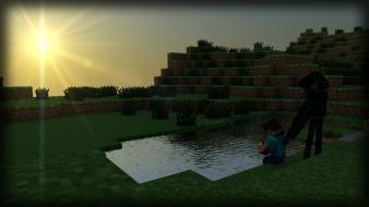 Water sun steve minecraft enderman diamond wallpaper