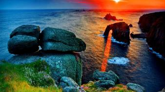 Water sunset horizon stones scenic sea wallpaper