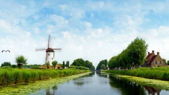 Water windmills skyscapes wallpaper