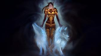 World of warcraft fantasy art draenei shaman wolves Wallpaper