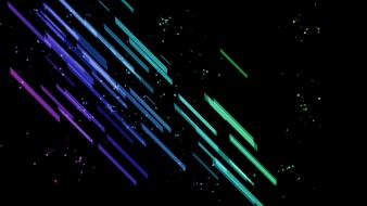 Abstract multicolor digital art lines black background splashes wallpaper