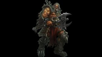Barbarian axes artwork warriors fan black background wallpaper
