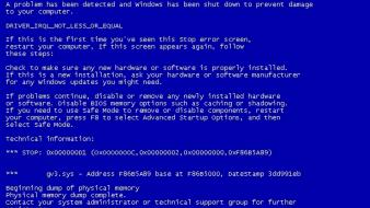 Blue screen of death microsoft windows error Wallpaper