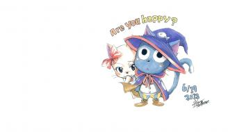 Cats fairy tail white background happy (fairy tail) Wallpaper