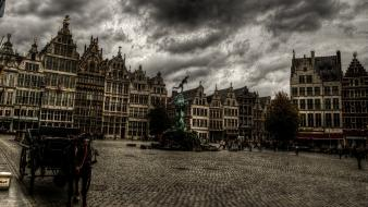 Clouds cityscapes hdr photography antwerp wallpaper
