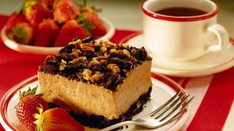 Coffee food desserts strawberries cakes wallpaper
