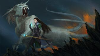 Fantasy long hair loki gods norse beasts sceptres wallpaper