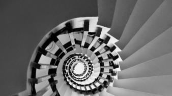 Fibonacci golden ratio monochrome spirals stairways wallpaper