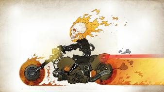 Fire ghost rider hell skeletons roads motorbikes wallpaper