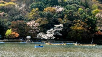 Flowers spring (season) boats rivers flowered trees wallpaper