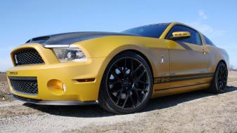 Golden ford mustang geigercars shelby wallpaper