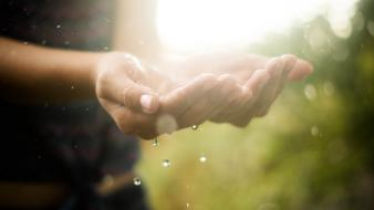 Hands water drops raindrop wallpaper