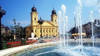 Hungary church squares fountain debrecen wallpaper
