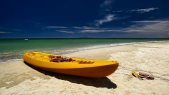Landscapes beach sand boats seaside wallpaper