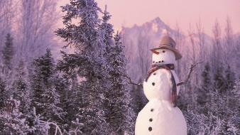 Landscapes nature snowmen snow Wallpaper