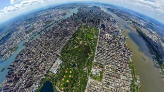 Manhattan central park aerial photography panorama circle wallpaper