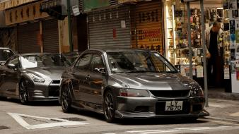 Mitsubishi lancer evolution viii nissan r35 gt-r wallpaper