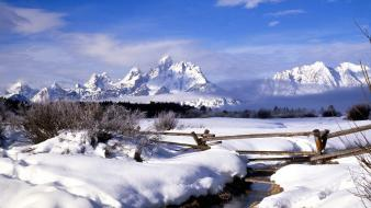 Mountains clouds landscapes nature fences snow rivers wallpaper