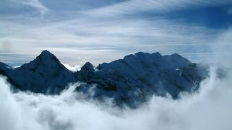Mountains clouds nature peaks skyscapes view wallpaper