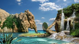 Mountains ocean nature trees tropical horses waterfalls lagoon Wallpaper