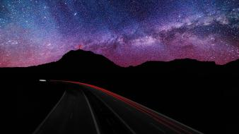 Mountains stars highway skyscapes velocity wallpaper