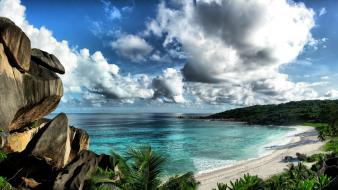 Nature beach rock seychelles skyscapes view sea wallpaper