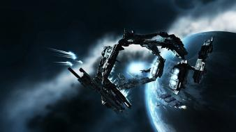 Outer space planets eve online spaceships wallpaper