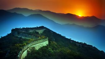 Sunset mountains landscapes nature china great wall of Wallpaper