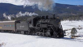 Trains locomotives fir steam widescreen 2-8-0 Wallpaper