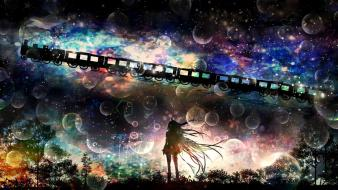 Trains long hair bubbles scenic skyscapes ia wallpaper
