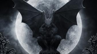 Trees dark moon fantasy art statues gargoyles wallpaper