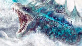 Water ice blue dragons cgi wallpaper